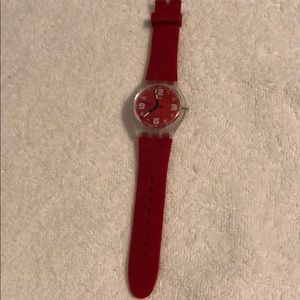 Swatch Watch in Red with Red Face